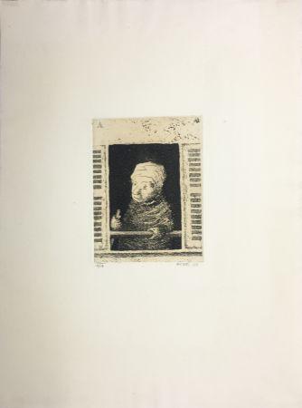 Aquatinta Avati - Femme de ménage à la fenêtre (1951)