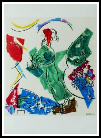 Lithographie Chagall (After) - FEMME EN VERT