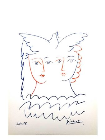 Lithographie Picasso (After) - Femme et Colombe