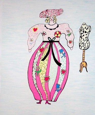 Lithographie De Saint Phalle - Femme Et Mannequin D'atelier De Couture