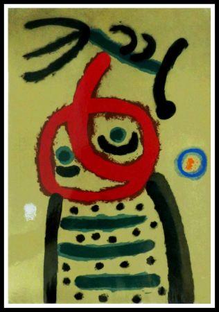 Pochoir Miró - FEMME ET OISEAU