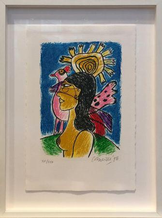 Siebdruck Corneille - Femme et oiseaux