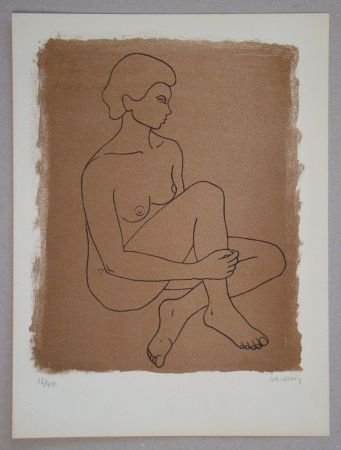 Lithographie Vacossin - Femme nue assise