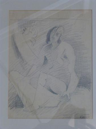 Keine Technische Lhote - Femme nue assise au palmier