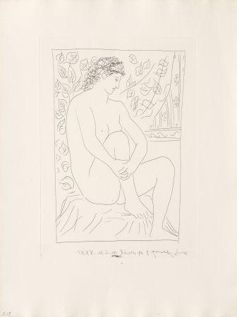 Stich Picasso - Femme nue assise devant un rideau