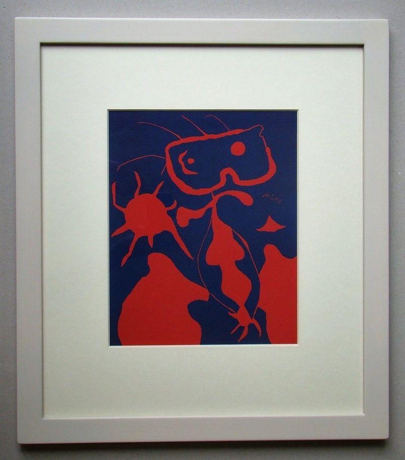 Linolschnitt Miró - Femme pour XXe Siècle