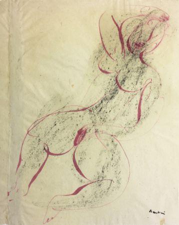 Monotypie Fautrier - Femme se caressant. Dessin original au pinceau (1942)