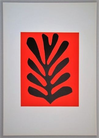 Lithographie Matisse - Feuille Sur Fond Rouge