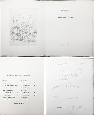 Illustriertes Buch Giacometti - FEUILLES ÉPARSES (Avec 14 gravures de Arp, Miro, Ernst, Man Ray, Masson, etc.) 1965.