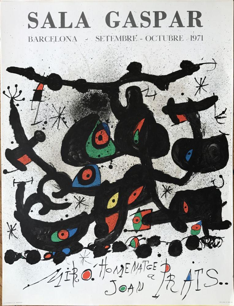 """Lithographie Miró - Ffiche pour l' exposition """"Homenatge a Joan Prats"""". Sala Gaspar, Barcelona."""