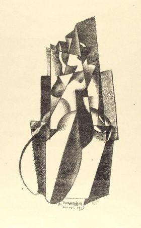 Lithographie Prampolini - Figur in Bewegung