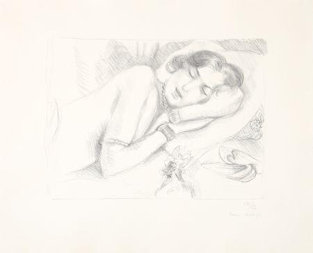 Lithographie Matisse - Figure endormie aux babouches