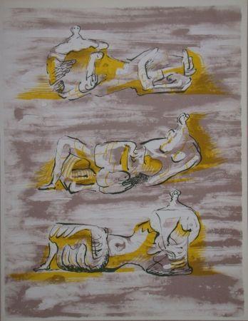 Lithographie Moore - Figures allongrées