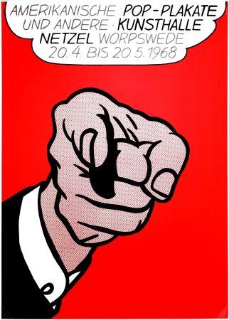 Siebdruck Lichtenstein - Finger Pointing (Hey You!)