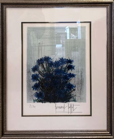 Lithographie Buffet - Fleur Bleu (Blue Flowers)