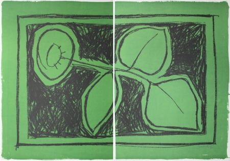 Lithographie Hernandez Pijuan - Flor Sobre Verd / Flower On Green
