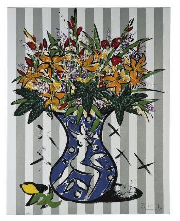 Siebdruck Szczesny - Flowers on Stripes