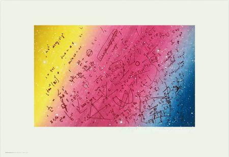 Siebdruck Monory - FOUILLIS MATHÉMATIQUE. Sérigraphie de 1975 signée au crayon.