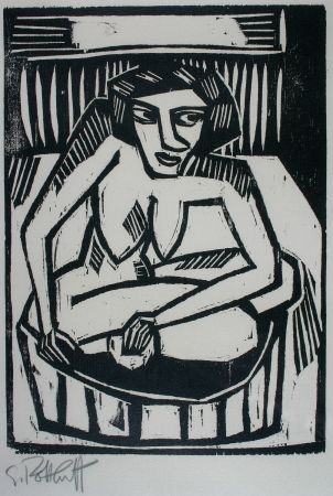 Holzschnitt Schmidt-Rottluff - Frau in der Wanne (Woman in Bath)