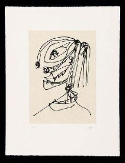 Radierung Und Aquatinta Saura - Frauen Portrait mit Hut 4