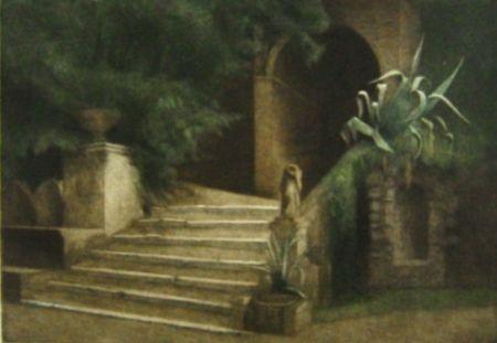 Mezzotinto Ilsted - From the Garden of Villa d'Este