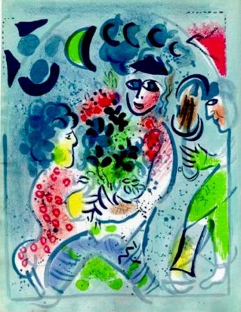 Lithographie Chagall -  Frontispiece Woman With Flowers M.578