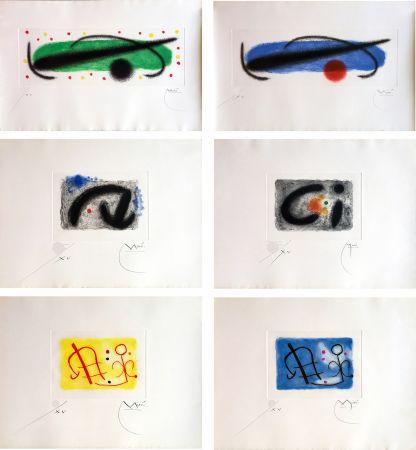 Radierung Und Aquatinta Miró - FUSÉES. LA SUITE COMPLÈTE DES 15 AQUATINTES SIGNÉES (BRODER 1959).