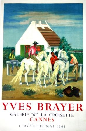 Lithographie Brayer - Gardians en Provence Exposition Cannes 1961
