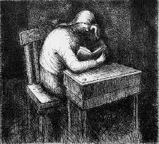 Radierung Und Aquatinta Moore - Girl Doing Her Homework V