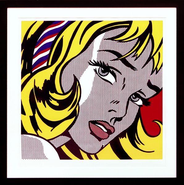 Siebdruck Lichtenstein - Girl with Hair Ribbon