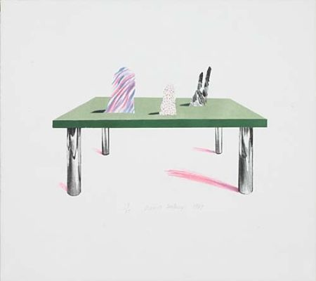 Lithographie Hockney - Glass Table with Objects