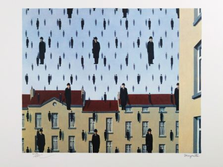 Lithographie Magritte - Golconde