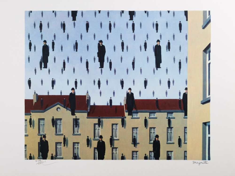 Lithographie Magritte - Golconde (Golconda)
