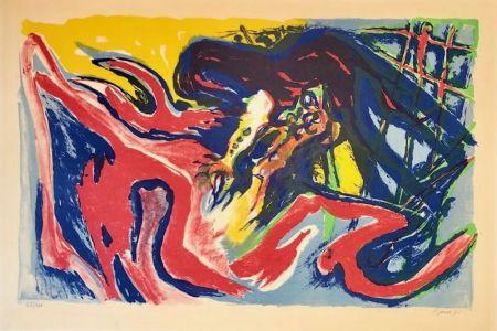 Lithographie Pignon - Grand combat de coqs