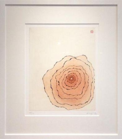 Aquatinta Minjung - Grande fleur orangée