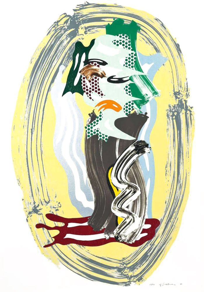 Lithographie Lichtenstein - Green Face, from Brushstroke Figures Series