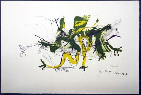 Lithographie Rebeyrolle - GRENOUILLES. Lithographie signéeet dédicacée (1970).