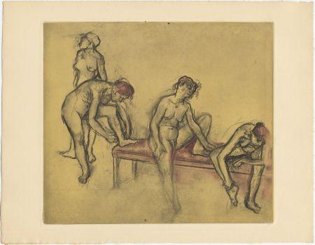Radierung Und Aquatinta Degas - Groupe de danseuses (étude du nus et mouvements. 1897)