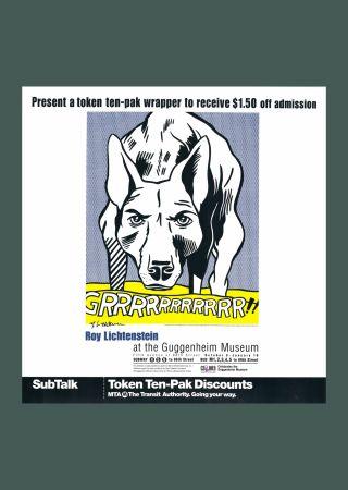 Lithographie Lichtenstein - 'Grrrrrrrrrrr!!' Hand Signed Exhibition Poster