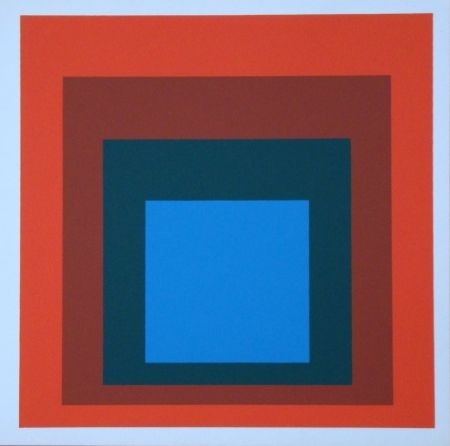 Siebdruck Albers - Homage to the Square - blue+darkgreen with 2 reds, 1955