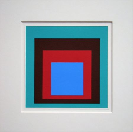 Siebdruck Albers - Homage to the Square - Protected Blue,1957