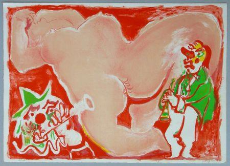 Lithographie Pignon - Hommage a Fellini