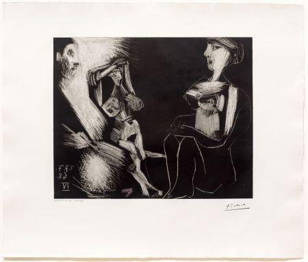 Aquatinta Picasso - Homme avec Deux Femmes Nues