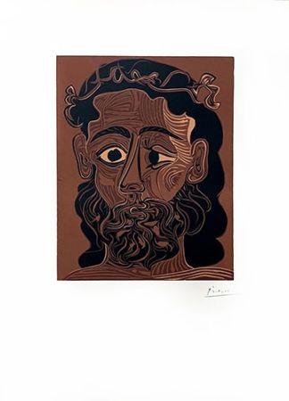 Linolschnitt Picasso - Homme barbu couronné de vignes