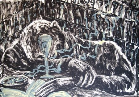 Lithographie Barcelo - Homme ivre
