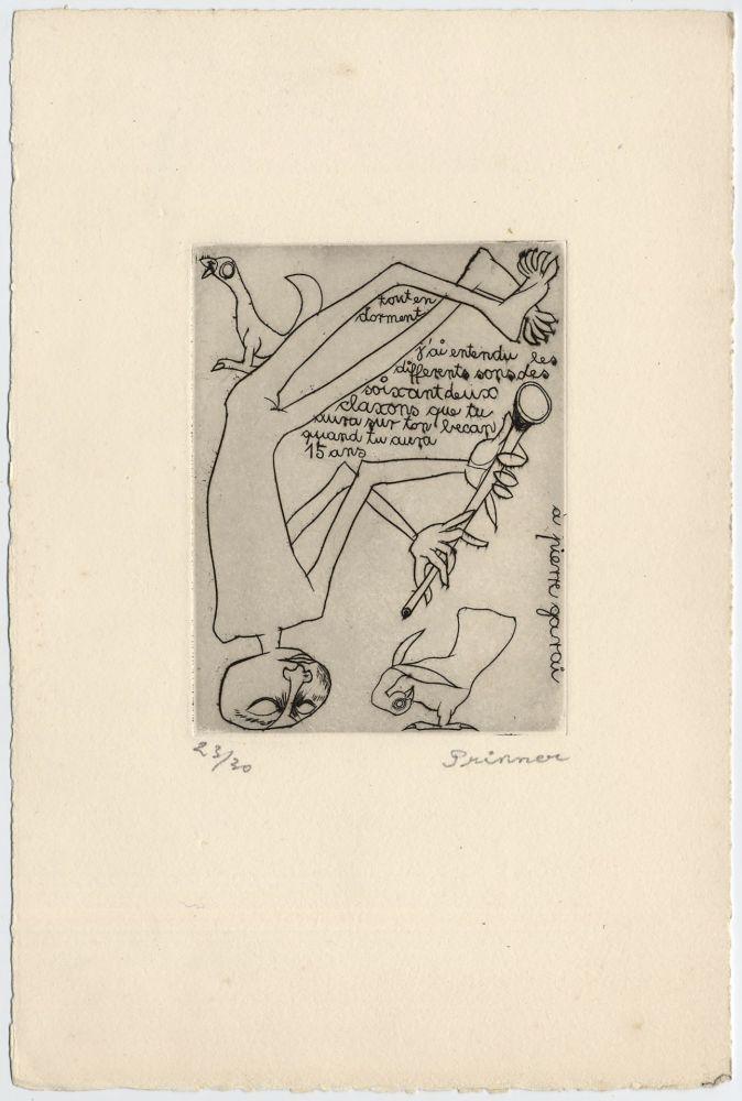 Radierung Prinner - Homme jouant du pipeau (1938)