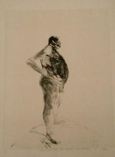 Lithographie Szafran - Homme nu