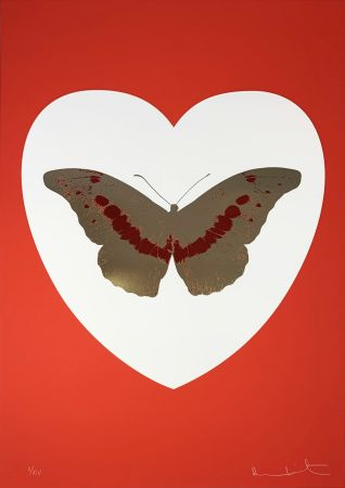 Siebdruck Hirst - I Love You - White/Red/Cool Gold/Poppy Red