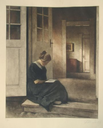 Mezzotinto Ilsted - In the doorway to the garden