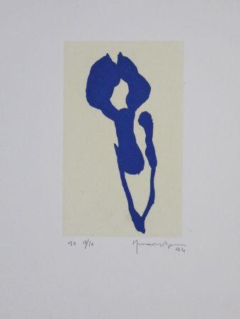 Aquatinta Hernandez Pijuan - Iris Blau Ix / Blue Iris Ix